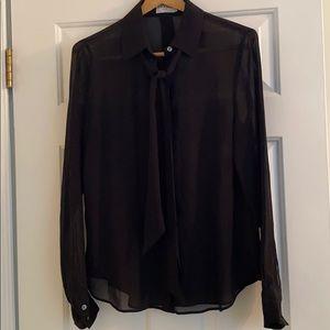 Frame Black sheer blouse